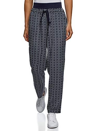 oodji Ultra Mujer Pantalones de Viscosa con Cordones, Azul, 34