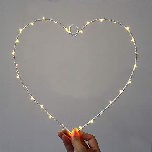 ZZM Lichterkranz mit Pentagramm in Herzform, dekorative LED-Lichter aus Eisendraht zum Aufhängen an Batterien, zum Valentinstag, warmweißes Licht für die Hochzeitsfeier zu Hause