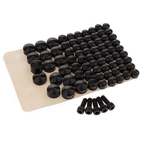 B Blesiya Cubierta de Tapas de Pernos de ABS Negro Sólido para Motocicleta 80 Piezas para FLT/FLH