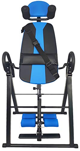 BalanceFrom FoldableHeavy Duty 350 lbs CapacityInversion Table with Removable Shoulder Rest and Lumbar Support, Black/Blue