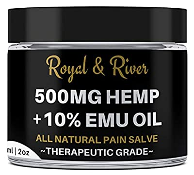 500 MG Hemp Ultra Strength Healing Salve with 10% Emu Oil | 100% Natural Cream Relieves Inflammation, Muscle, Joint, Knee, Nerve, Arthritis Aches & Pain | Fast Acting, Maximum Power, Quick Relief from Royal and River