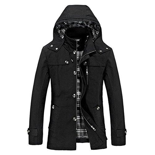 Dehutin 2017 Hombres Casual Puro algodón Chaquetas Moda Ajustado Encapuchado Abrigo Rompevientos
