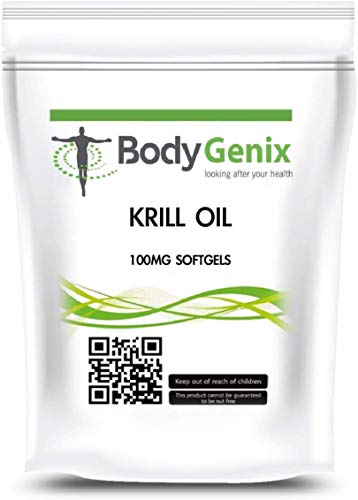 Bodygenix Krill Oil Supplements| Heart and Brain Supplement | with high Omega-3, 6, and 9 | Support PMS discomfort | 1000 mg Capsules (240)