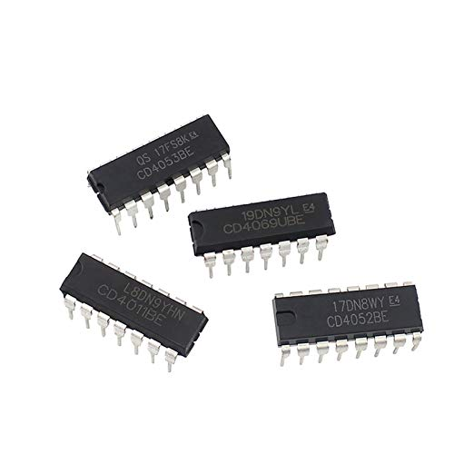 YSJJNDH Integrated Circuits IC chip CD4069 CD4011CD4052 CD4053 DIP Package Logic ICS,Gates and Inverters IC Integrated Circuit CMOS Electronics Chips (Color : 4 Value x10pcs kit)