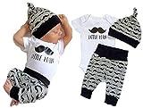 Mefarla Newborn Baby Girl Boy Tops Romper Short Sleeve Long Pants Legging Hat Outfit Set Clothes (0-6 Months) White