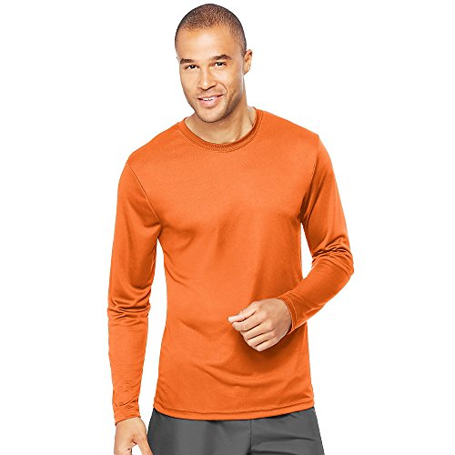 Hanes Cool DRI'Performance mens Long-Sleeve T-Shirt,Safety Orange,Medium