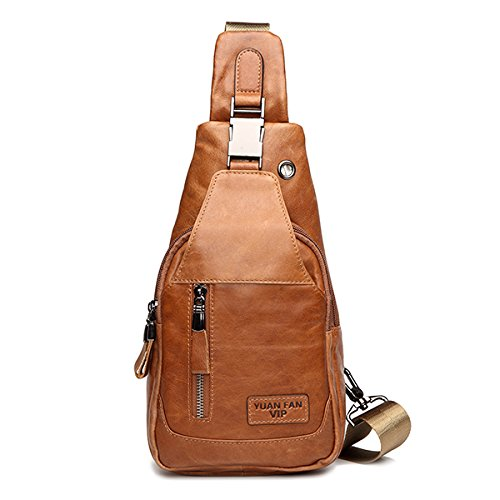 Leather Chest Bag, Gracosy Outdoor Cross Body Bag First Layer of Leather Sling Backpack Shoulder Bag, Fashion Small Backpack for Men Yellow 13.3×18.8×5.1 inch