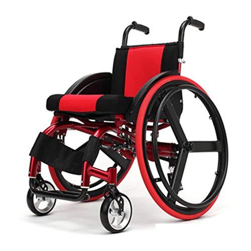 Sisyria Sport-und Freizeit-Rollstuhl, tragbarer roter selbstfahrender Rollstuhl-Faltbarer Antrieb, der medizinischen Transport-Rollstuhl fährt,Red