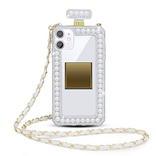 Fusicase for iPhone 11 Diamond Glitter Case with Neck Strap Cute Bling Rhinestone Crystal Pearl Shiny Clear Cover 3D Handmade Perfume Bottle with Wrist Strap Chain Lanyard Case for Girls Women