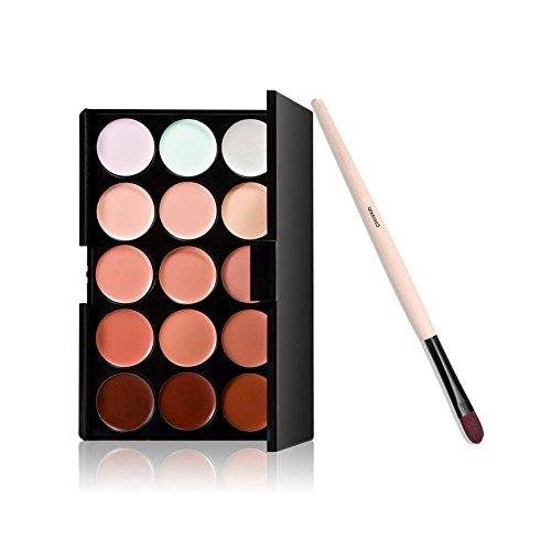 BOOLAVARD 15 Couleurs Crème Contour Maquillage Concealer Palette + Pinceau Poudre