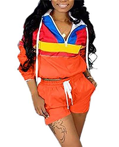 Women Colorblock 2 Piece Tracksuit Set Long Sleeve High Waist Pants Set Colour Sweatsuit Orange S