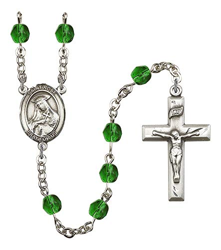 Silver Plate Rosary Features 6mm Emerald Fire Polished Beads. The Crucifix Measures 1 3/8 x 3/4. The Centerpiece Features a St. Rose of Lima Medal. Patron Saint Vanity/South America