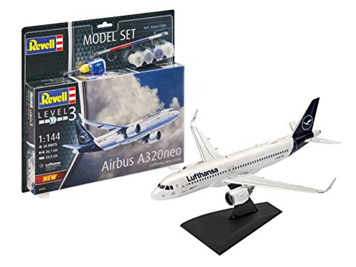 Revell REV-63942 Model Set Passagierflugzeug Airbus A320 neo Lufthansa New Livery, Flugzeugmodellbausatz 1:144, 26,1 cm Modellbausatz + Zubehör, unlackiert, 1/100
