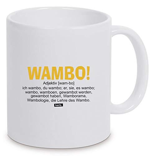 Taza blanca de Hariz Wambo definición, texto gracioso, blanco, talla única