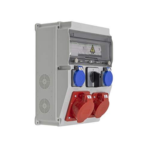 Caja de trabajo equipada/precableada ASTAT 394 Standard Plus IP65 32A/5P, 16A/5P, 2x230V IP44, interruptor giratorio 0-1(32A), Protectores Schneider