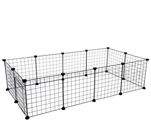 Recinto Gabbia per Animali Domestici Piccolo Box per Animali Domestici Canile e Recinto per Cani Gatti in Stile Appartamento in Filo Metallico Nero (11 Pezzi)