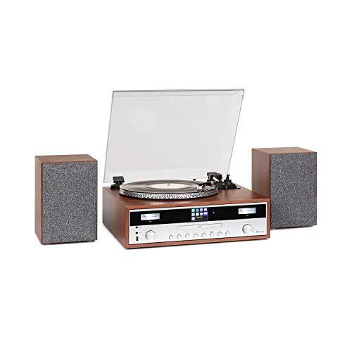 auna Birmingham Equipo estéreo HiFi - sintonizador FM/Dab+, Internet, 2 Altavoces, 50 W, Bluetooth, Tocadiscos, Sistema MM - Audio-Technica AT3600L, Reproductor de CD, USB, AUX, Madera y Plata