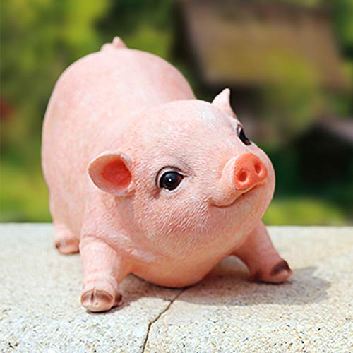 Animal Garden Gnomes Statue Cute Pig Funny Outdoor Sculpture Resin Lawn Ornaments Décor Indoor Outdoor Figurines for Garden and House (Cut Pig)