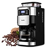 5-Cup Drip Coffee Maker with Built-In Coffee Burr Grinder, Five-Stage Grinder Overheating Protection, Single Serve Coffee Machine, 5-Cups, Black (Renewed)