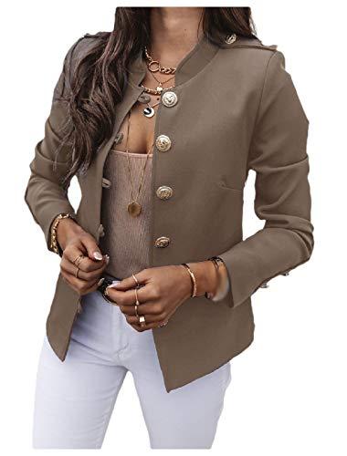 CuteRose Women Single Button Solid Color Stand Collar Trim-Fit Blazer Jacket Coat Khaki S