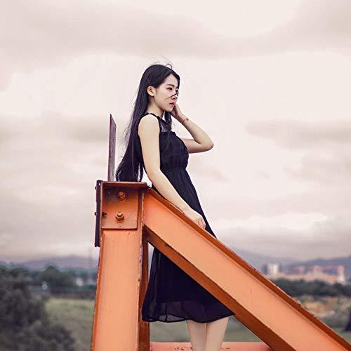 Donkerbruin lang steil haar, zelfde ster, 60cm, hoogwaardig echt haar, handgeweven pruik, kunstmatige hoofdhuid, elegante pruik voor dagelijkse kleding van de godin