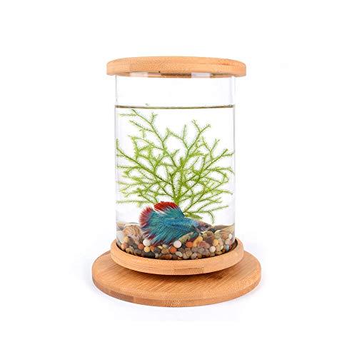 Mesa redonda giratoria acuario acuario pecera cristal transparente pecera acuario peces peces peces peces betta tanque accesorios hogar u oficina decoración