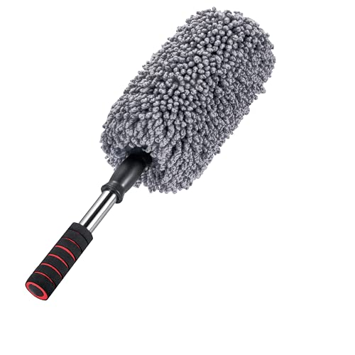 IPELY Super Soft Microfiber Car Duster Exterior with Extendable Handle, Car Brush Duster for Car Cleaning Dusting