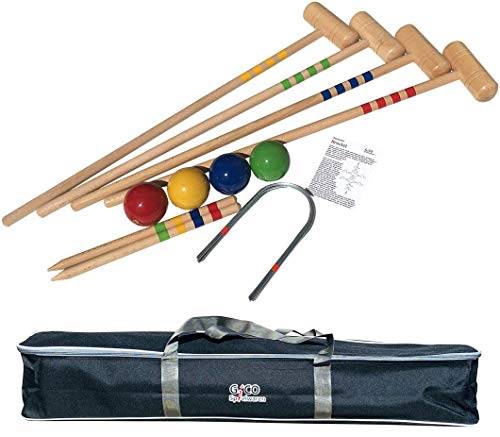 GICO Qualitäts Krocketspiel / Krocket / Crocket für 4 Spieler in Transporttasche - Spiel gut (Auszeichnung) - Qualitätsware aus Massivholz für die ganze Familie -Made in EU - 3224