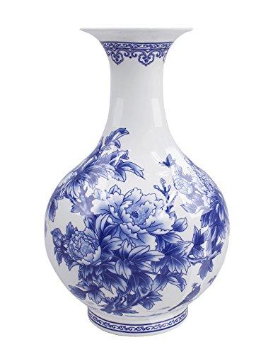 Dahlia Birds in Peony Bush Blue and White Bone China Flower Vase, Chinese Bottle Shaped