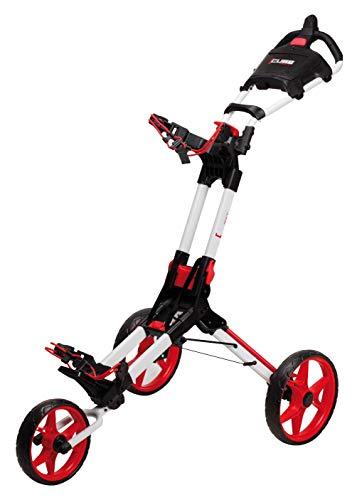 Cube NXT Golfwagen Golftrolley klappbar Trolley 3 Räder Trolly für Golf Golfbag - Super leicht und einfach klappbar - Tri Card 3 Rad System - flexibel für alle Bags & Golfsets (Weiss Rot)