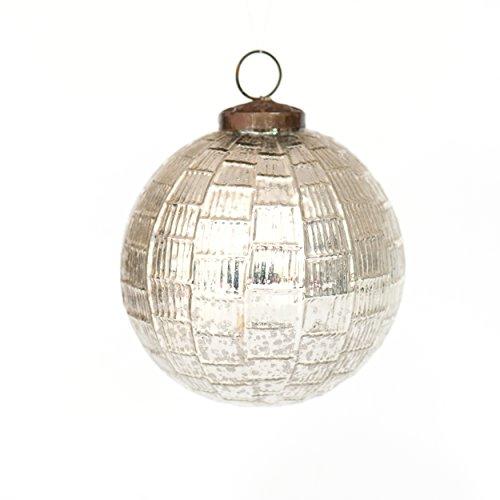Insideretail 100901-4-SIL 9-Palla di Natale Pendaison dettagliata antichità Decorazione, Effetto Vetro, 120 mm, Set da 9 Pezzi