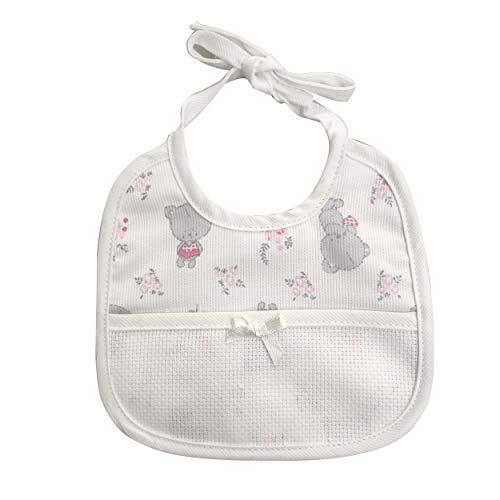 BAVAGLINO BAVETTA in Cotone per neonato bebè chiusura con laccetti e tela aida per poter ricamare il nome del bambino o bambina. Fantasia orsetti e fi