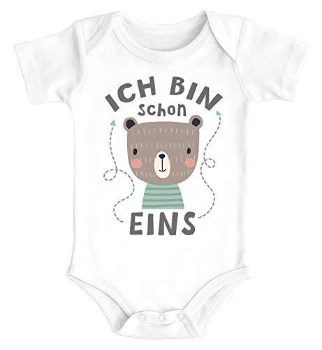 SpecialMe® Baby Body mit Spruch zum Geburtstag ich Bin Schon eins Tiermotive Geschenk für Einjährige Bio-Baumwolle Bär weiß 12-18 Monate