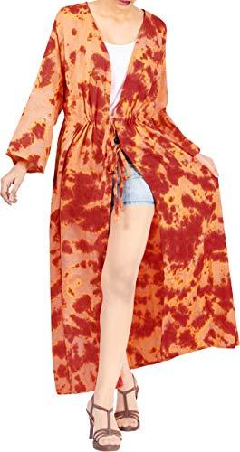 LA LEELA Algodón Kimono Largo Impreso Beach Cover Up para Mujer Suelta Ropa de Playa Encubrimiento de baño Bikini Vestido para la Playa, un tamaño Calabaza Naranja_X811