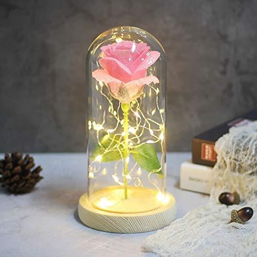Schoonheid en wilde roos in de fles leiden de Rose licht zwart Base glas Dome beste voor Moederdag