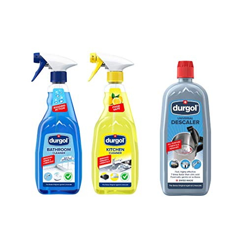Durgol Cleaning Trio, Universal, Kitchen, and Bathroom Cleaner Set, Multi-Purpose Cleaner and Descaler for The Whole Home