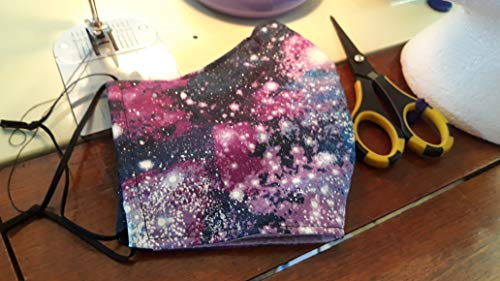 Purple Space Print Homemade Face Mask Filter Pocket and Nose Wire Reusable Washable Adult Made in USA
