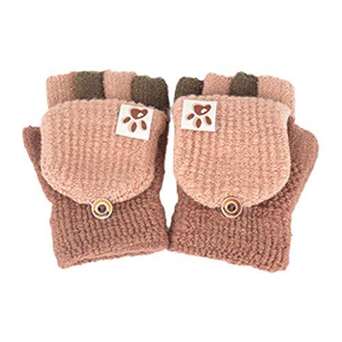 Xuebai Kids Baby Winter Knit Patchwork Convertible Guantes sin Dedos con Cubierta de manopla Guantes de Invierno Café