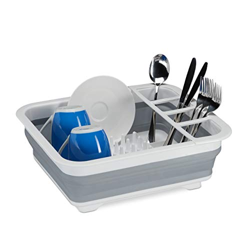 Relaxdays Falt Abtropfgestell, Geschirr & Besteck, Abtropfkorb Küche & Camping, faltbar, Silikon, Kunststoff, weiß-grau
