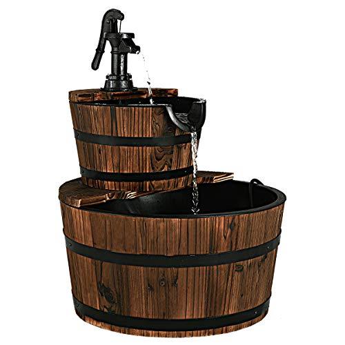 COSTWAY Brunnen Holz Gartenbrunnen Holzbrunnen Holzfass mit Wasserpumpe Ø 44,5cm
