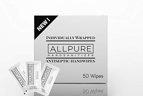 ALLPURE BRAND 50 Individually Wrapped Antiseptic Hand Wipes...