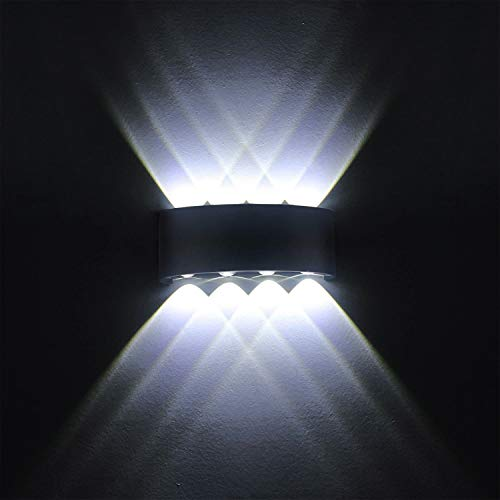 LED Wandleuchte 8W Moderne Wandleuchten IP65 Wasserdichte Wandleuchte Aluminium Light Up Up Down Dekorative Spotlicht Nachtlampe für Wohnzimmer Schlafzimmer Halle Treppe Weg froid Cool White)