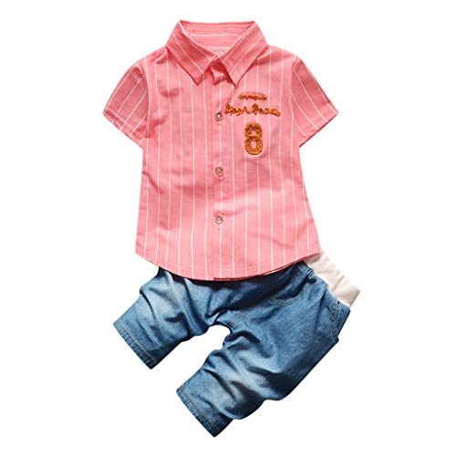 Julhold Zomer Peuter Kinderen Baby Jongen Mode Letter Streep T Shirt Katoen Tops Jeans Broek Kleding Outfits Set 0-4 Jaar