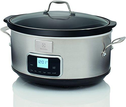 Electrolux ESC7400 Slow Cooker, Pentola Elettrica in Ceramica, Timer, 235 W, 6.8 Litri, Acciaio Inox, Argento