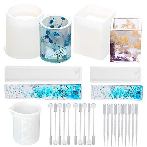 Totofy Résine Moules en Silicone Cube et Cylindre Forme de Moulage de Résine pour,Porte-Stylo/Signet/Pot de Fleur/Bougie Stylo Support De Savon (A)