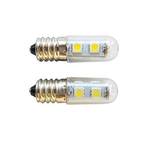 Precauti 2Pcs Ampoules de rechange E14 LED 1,5 W pour réfrigérateur halogène 15 W pour machine à coudre, Corps de lampe en acrylique blanc,Flux lumineux 60-80 (lm)