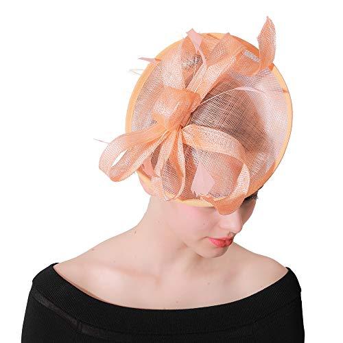 JBVG Sombrero De Velo De Malla De Plumas Las Mujeres del cóctel de té Elegante Sombrero Ventilador Novia Pluma Accesorios Horquilla Puede Arreglar El Cabello En Su Lugar