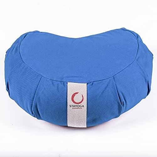 STAYOGA Cojín Zafu Corazón Zend de Color Azul. Ideal para Adoptar una Postura Correcta de la Meditación y Yoga. Hecho artesanalmente.