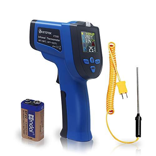 Ketotek KT550D Pistola de termómetro infrarrojo digital con láser dual sin contacto -50 ~ 550 ℃ con termopar K Humedad ajustable Emisividad