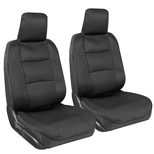 BDK EasyFit Universal Car Seat Covers for Front Seats, Black – Front Seat Cover Set with Integrated Headrest Cover, Quick Slip-On Installation, Universal Fit for Car Truck Van SUV